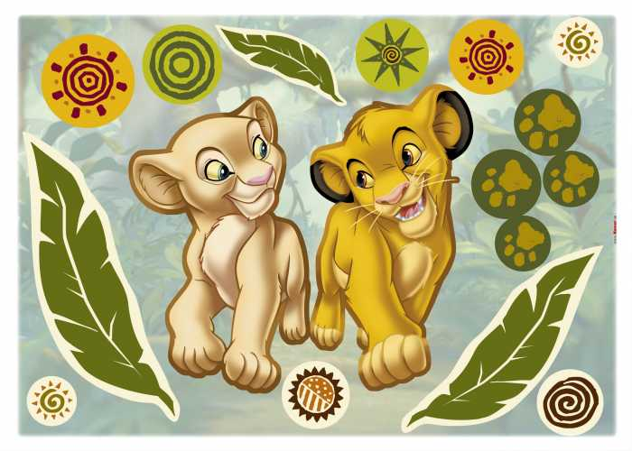 Sticker mural Simba and Nala