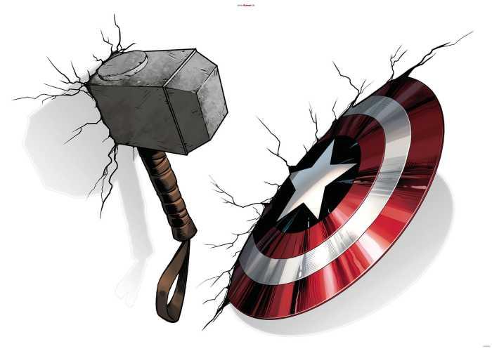 Sticker mural Avengers Hammer & Shield