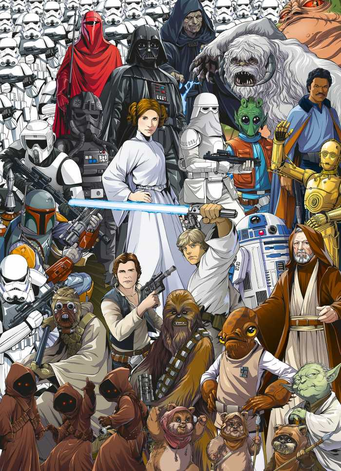 Photo murale Star Wars Classic Cartoon Collage