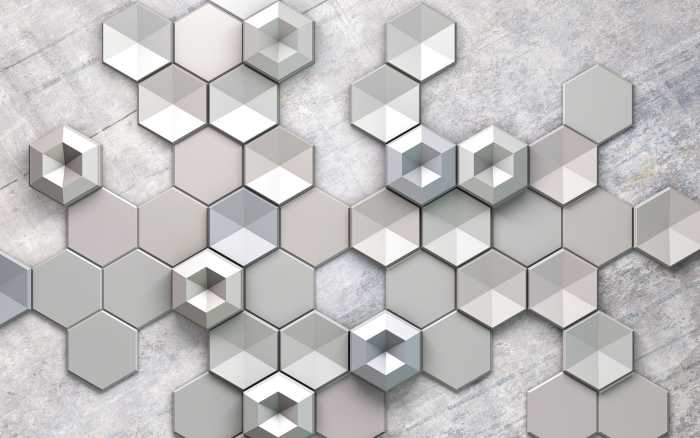 Poster XXL impression numérique Hexagon Concrete
