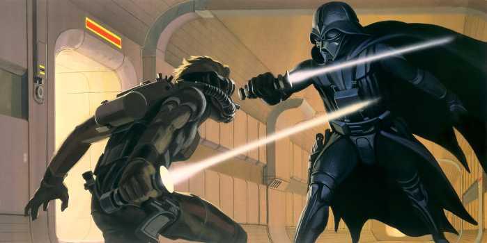 Poster XXL impression numérique Star Wars Classic RMQ Vader vs Luke