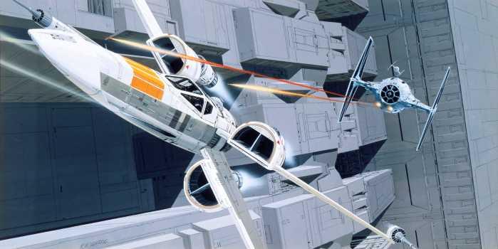 Poster XXL impression numérique Star Wars Classic RMQ X-Wing vs TIE-Fighter