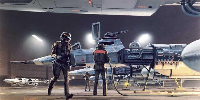 Poster XXL impression numérique Star Wars Classic RMQ Yavin Hangar