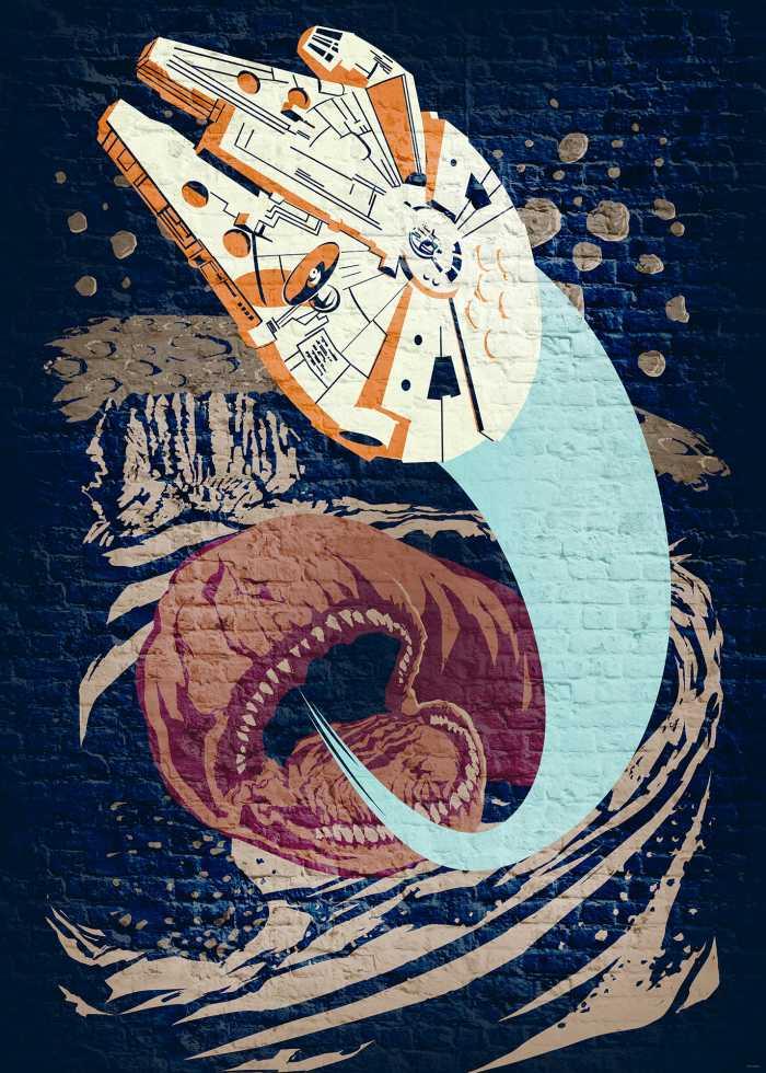 Poster XXL impression numérique Star Wars Classic Concrete Asteroid Worm