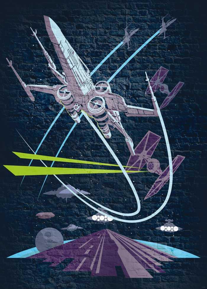 Poster XXL impression numérique Star Wars Classic Concrete X-Wing