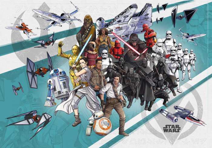 Poster XXL impression numérique Star Wars Cartoon Collage Wide