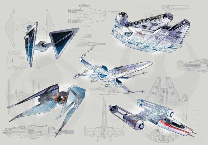 Poster XXL impression numérique Star Wars Blueprint Light