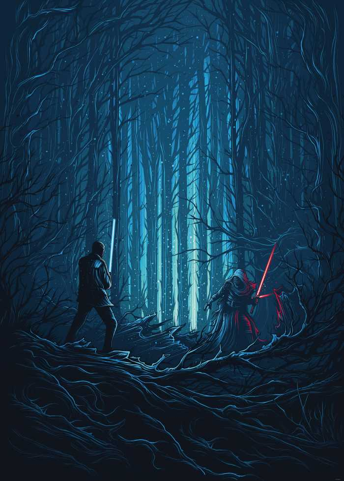 Poster XXL impression numérique Star Wars Wood Fight