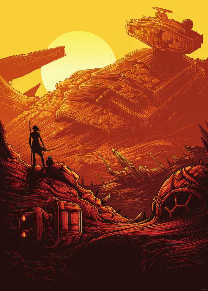 Poster XXL impression numérique Star Wars Jakku Star Destroyer