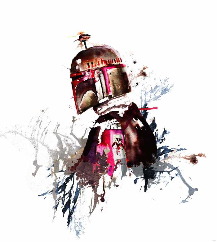 Poster XXL impression numérique Star Wars Watercolor Boba Fett