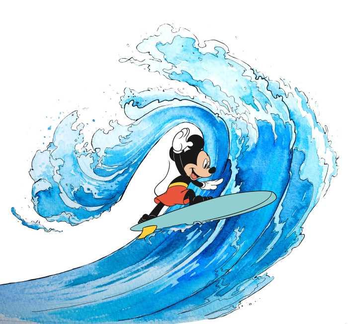 Poster XXL impression numérique Mickey Surfing