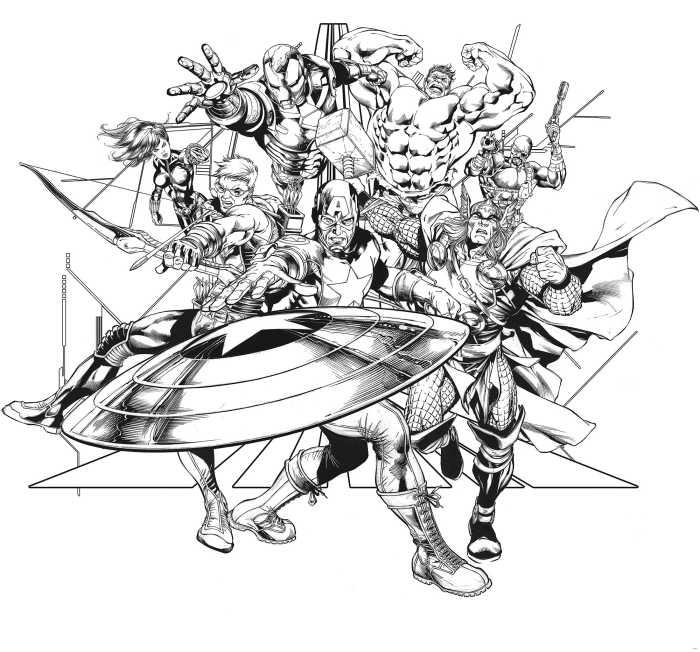 Poster XXL impression numérique Avengers Black and White