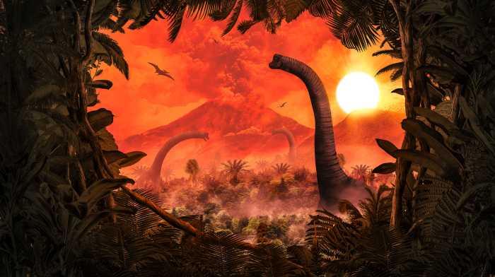 Poster XXL impression numérique Brachiosaurus Panorama