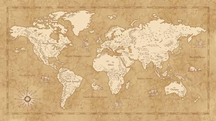 Poster XXL impression numérique Vintage World Map