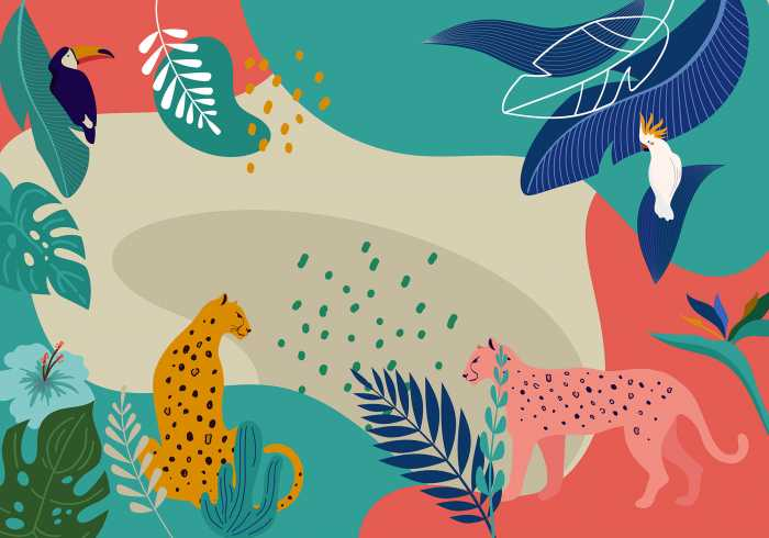 Poster XXL impression numérique Jungle Rendezvous