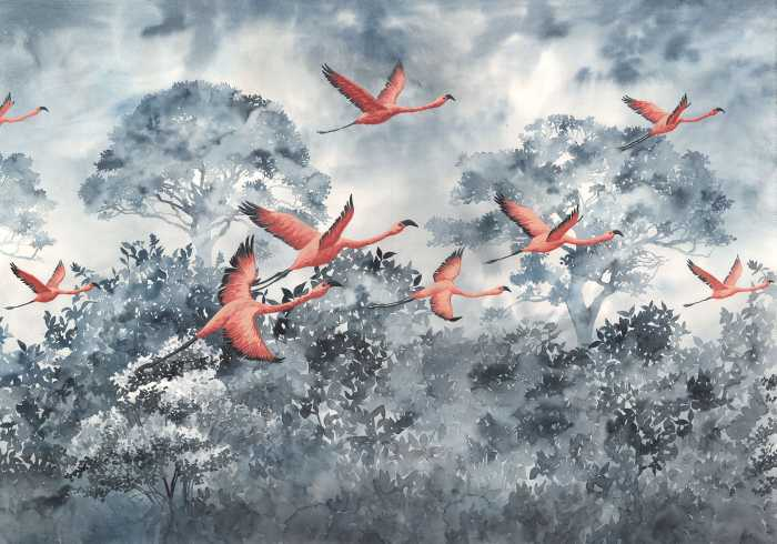 Poster XXL impression numérique Flamingos in the Sky