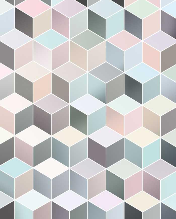 Poster XXL impression numérique Cubes Pastel