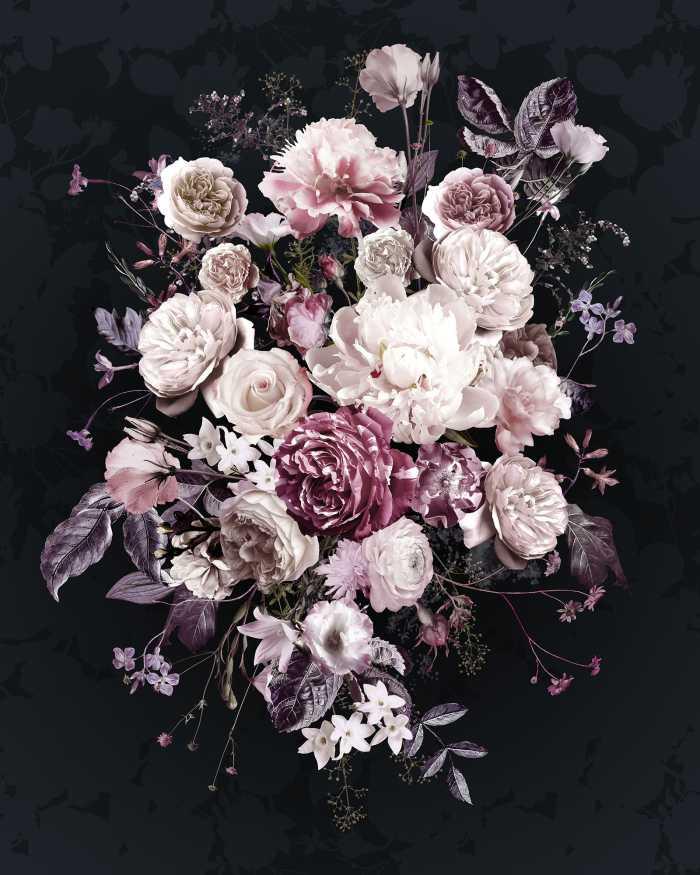 Poster XXL impression numérique Bouquet Noir
