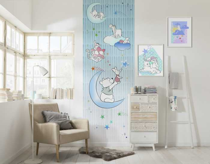 Poster XXL impression numérique Winnie Pooh Piglet and Stars