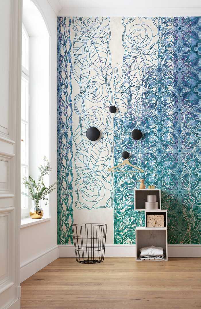 Poster XXL impression numérique Art Nouveau Bleu