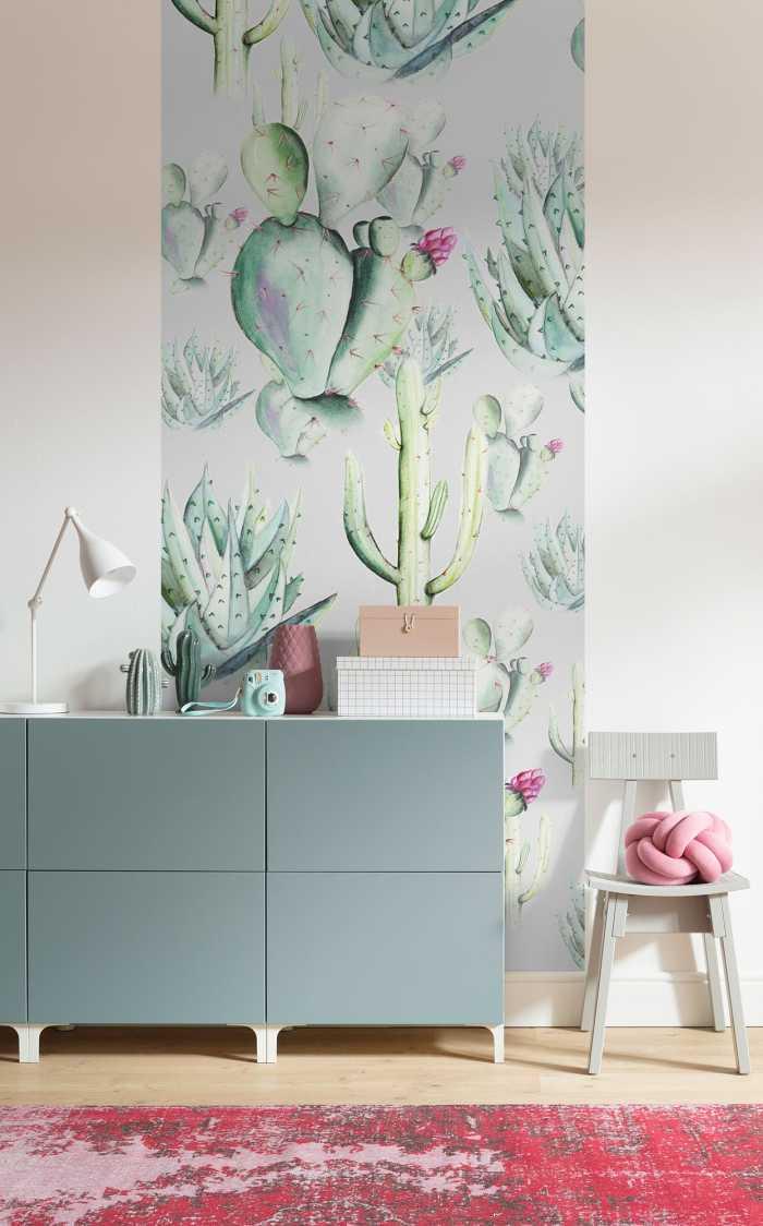 Poster XXL impression numérique Cactus Grey
