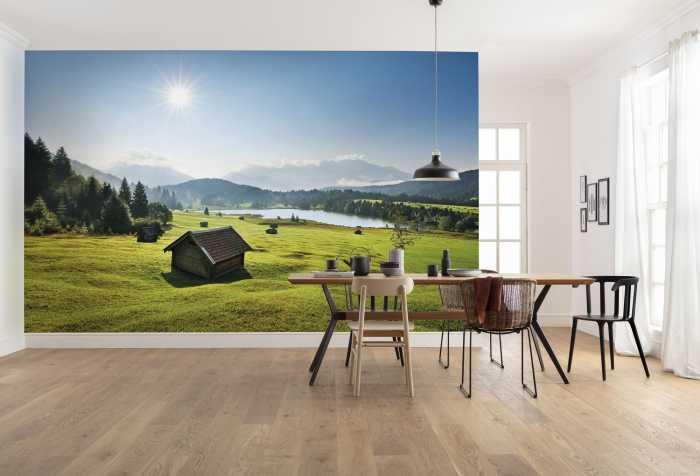 Poster XXL impression numérique Bergwiese vor Karwendel