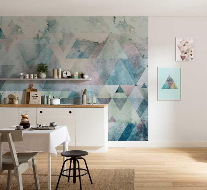 Poster XXL impression numérique Triangles Blue